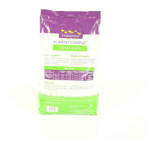 Paradisio - Aliment Complet pour Lapins Nains - 8Kg
