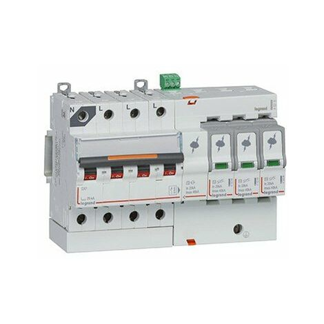 Parafoudre avec protection court-circuit - Type T2 - 40kA - 3P+N - 320V - 8 modules