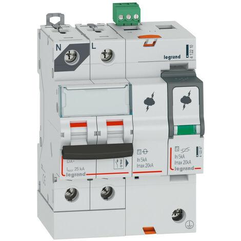 Parafoudre avec protection de court-cicuit intégrée typeT2 Imax 20kA 1P+N 320V~ 4 modules (412210)