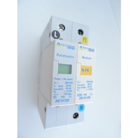Parafoudre bipolaire 40kA Type 2 modulaire pour protection surtension electrique ALTERNATIVE ELEC AE15120