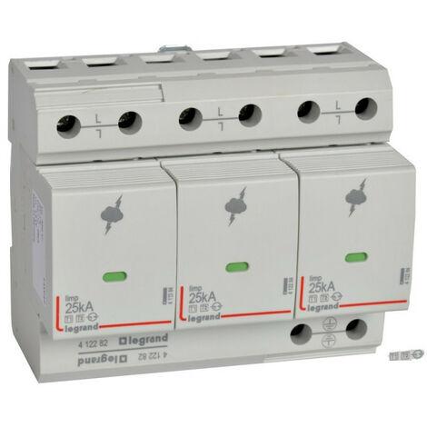 Parafoudre pour protection des installations de risque très élevé typeT1 + typeT2 Iimp 25kA-pôle 3P 6 modules (412282)