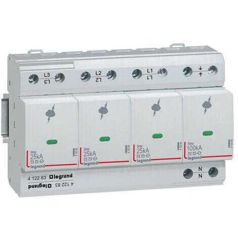 Parafoudre pour protection des installations de risque très élevé typeT1 + typeT2 Iimp 25kA-pôle 3P+N 8 modules (412283)