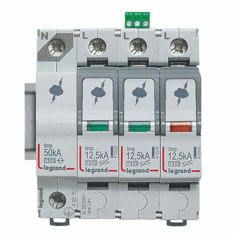 Parafoudre pour protection génerale de tableau principal typeT1 + typeT2 Iimp 12,5kA-pôle 3P+N 4 modules (412275)