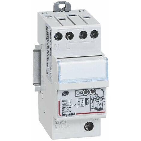 Parafoudre pour protection tableau d abonné avec protection intégrée type2 Imax 12kA/pôle - 1P+N - 2 modules - 003951