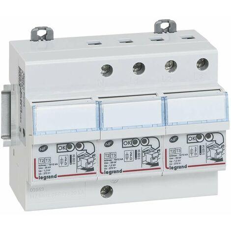 Parafoudre pour protection tableau d abonné avec protection intégrée type2 Imax 12kA/pôle - 3P+N - 6 modules - 003953
