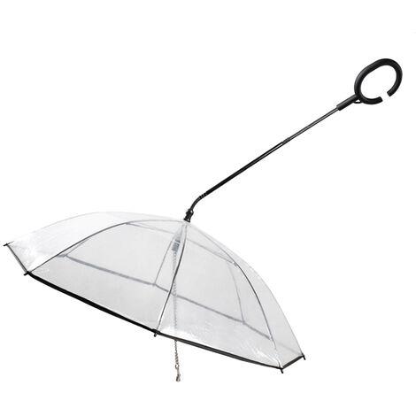 Paraguas para perro mascota, con correa con mango de direccion retractil en forma de C