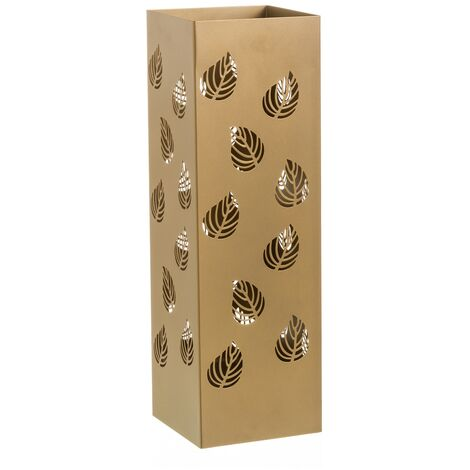 """main image of """"Paragüero contemporáneo dorado de metal con hojas talladas de 15x49 cm"""""""