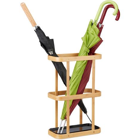 Paragüero Rectangular Moderno, Bambú, Beige, 45 x 29.5 x 15 cm