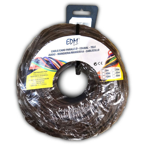 Paralelo textil trenzado 3x1,5mm marron 25mts