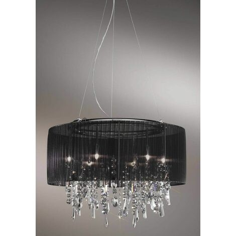 PARALUME crystal chandelier chrome 6 lights, fabric shade
