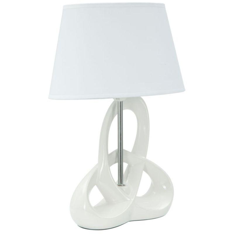 Paralume lampada da tavolo o comodino in ceramica e ferro bianco moderno FLY