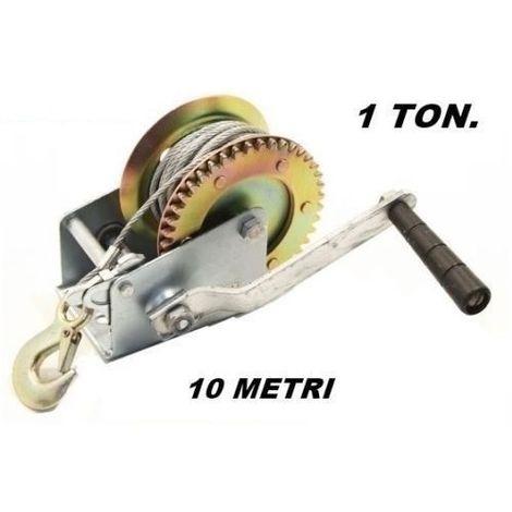 Verricello manuale 1500 kg 10 m professionale cavo Argano Manuale