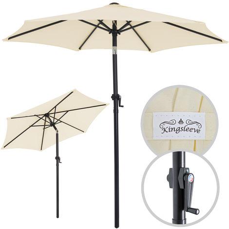 Parasol - Ø 200cm - Inclinable - Avec manivelle - Beige
