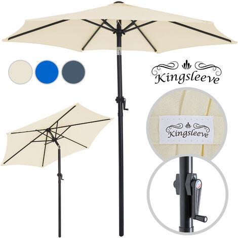 Parasol - Ø 200cm - Inclinable - Avec manivelle - Coloris au choix