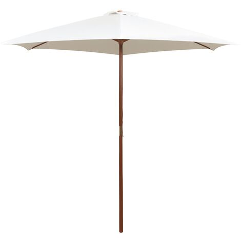 Parasol 270x270 cm Wooden Pole Cream White