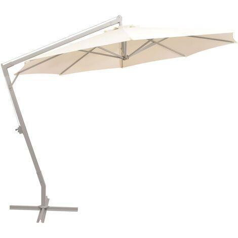 "main image of ""vidaXL Parasol Suspendu Poteau Aluminium Pare-soleil Terrasse Sable/Vert"""