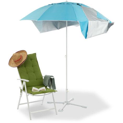 Parasol, Abri de plage, Protection anti UV SPF 50+, Jardin, Terrasse, Sac de transport, HxD 210x180cm, bleu