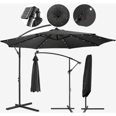 "main image of ""Parasol AREBOS Jardin éclairage Solaire LED Housse Parapluie Rond Anthracite 3m - Anthracite"""