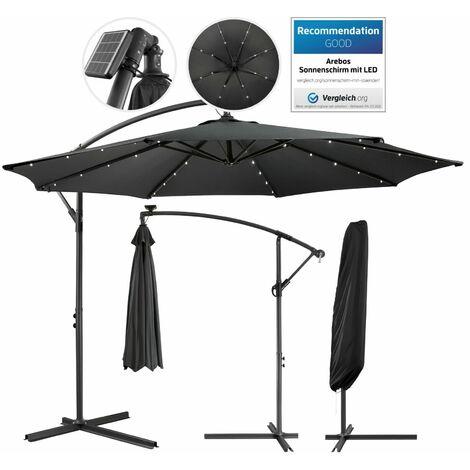 """main image of """"Parasol AREBOS para jardín y terrazas iluminación LED Antracita Ø3 Protección UV - Antracita"""""""
