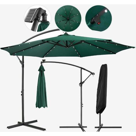 Parasol avec éclairage LED vert 3m