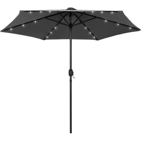 Parasol avec LED et mât en aluminium 270 cm Anthracite