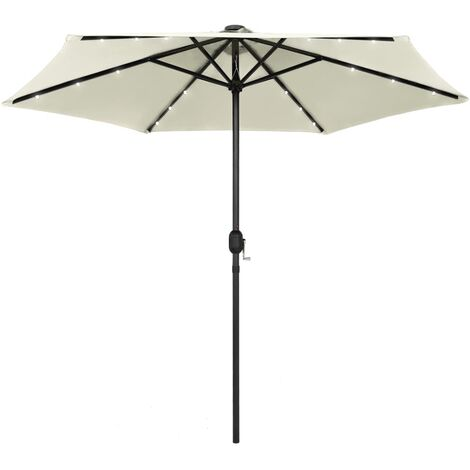 Parasol avec LED et mât en aluminium 270 cm Blanc sable