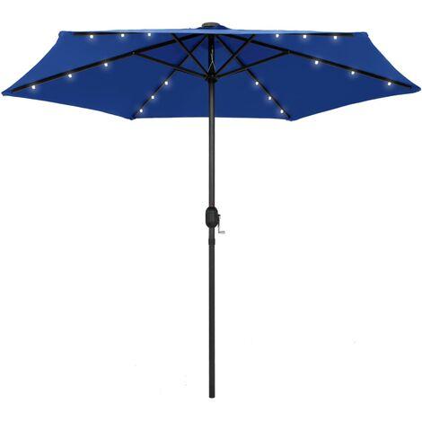 Parasol avec LED et mât en aluminium 270 cm Bleu azuré