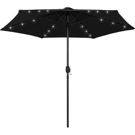 Parasol avec LED et mât en aluminium 270 cm Noir