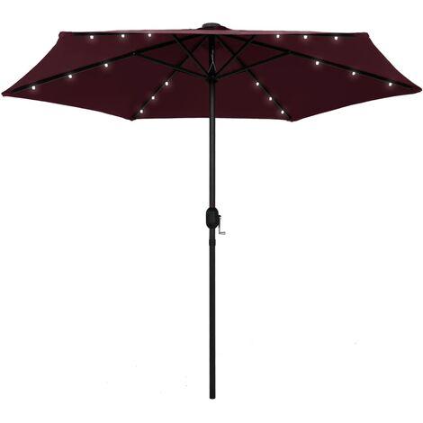 Parasol avec LED et mât en aluminium 270 cm Rouge bordeaux