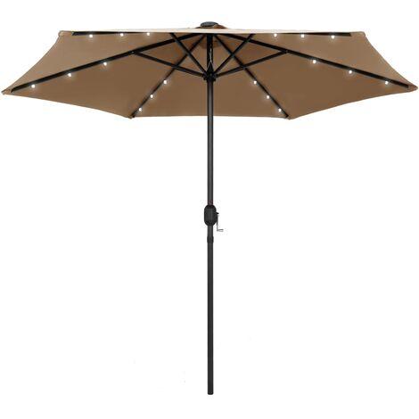 Parasol avec LED et mât en aluminium 270 cm Taupe