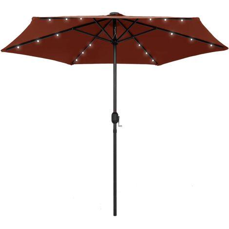 Parasol avec LED et mât en aluminium 270 cm Terre cuite