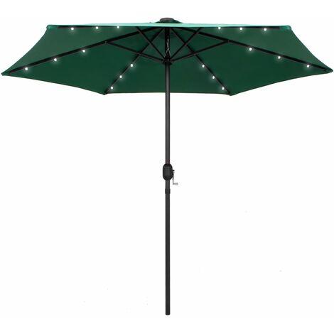 Parasol avec LED et mât en aluminium 270 cm Vert