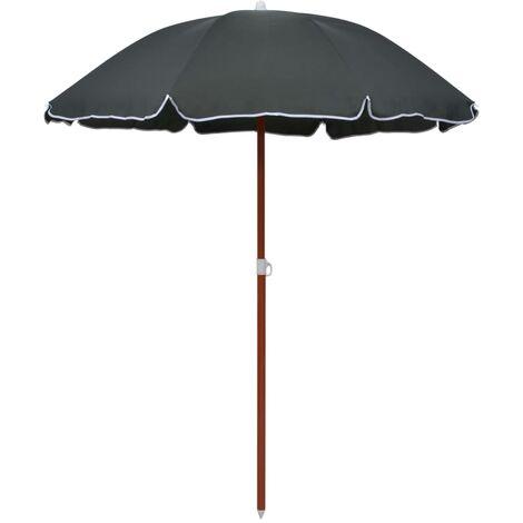 Parasol avec mât en acier 180 cm Anthracite