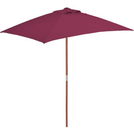 Parasol avec mât en bois 150 x 200 cm Bordeaux