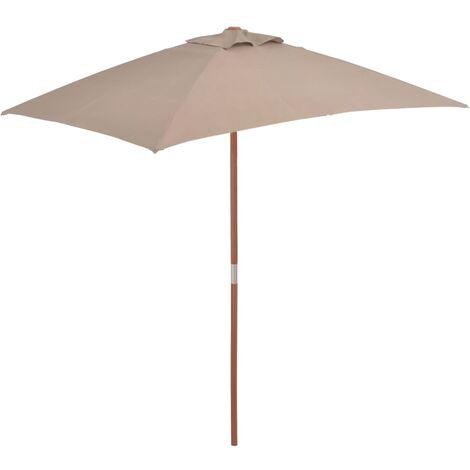 Parasol avec mât en bois 150 x 200 cm Taupe