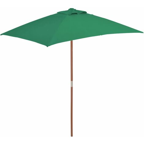 Parasol avec mât en bois 150 x 200 cm Vert