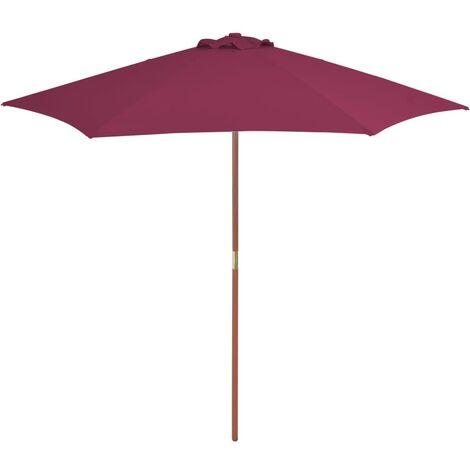 Parasol avec mât en bois 270 cm Bordeaux