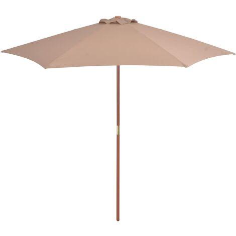 Parasol avec mât en bois 270 cm Taupe