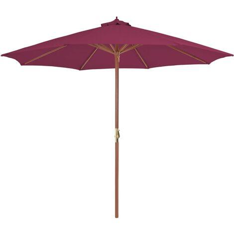 Parasol avec mât en bois 300 cm Rouge bordeaux