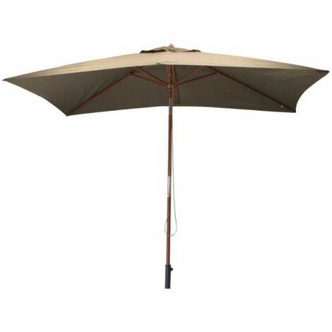 Parasol avec mât en bois 300x200 cm Ori Taupe - Taupe