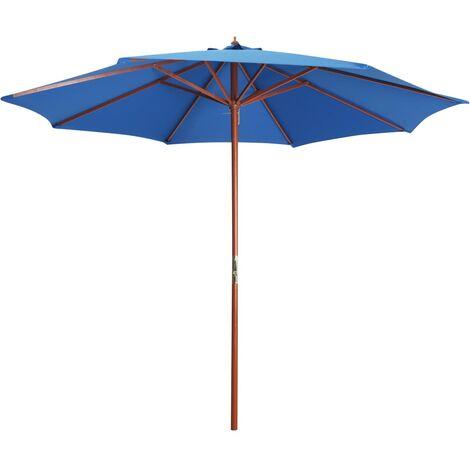 Parasol avec mât en bois 300x258 cm Bleu
