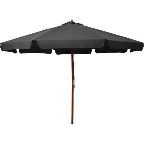 Parasol avec mât en bois 330 cm Anthracite