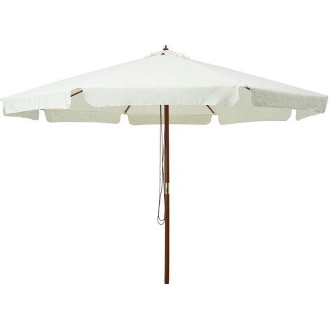 Parasol avec mât en bois 330 cm Blanc sable