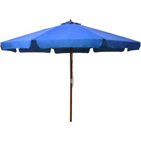 Parasol avec mât en bois 330 cm Bleu azuré