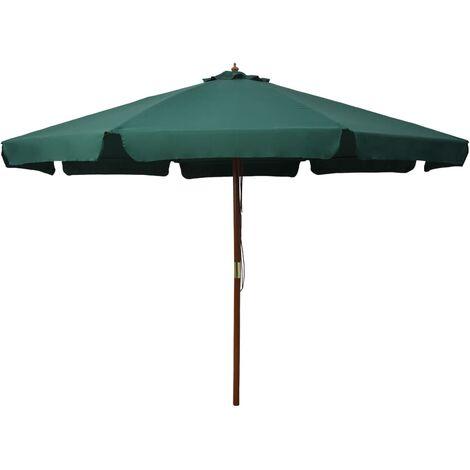 Parasol avec mât en bois 330 cm Vert