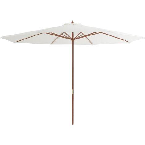 Parasol avec mât en bois 350 cm Blanc sable