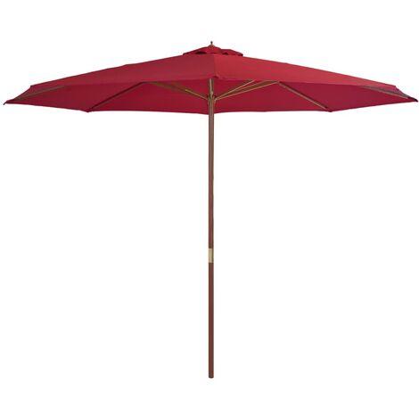 Parasol avec mât en bois 350 cm Bordeaux