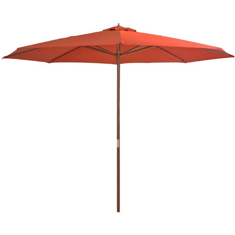 Vidaxl - Parasol avec mât en bois 350 cm Terre cuite