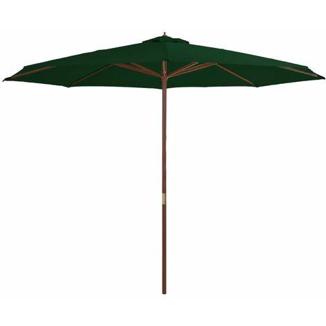 Parasol avec mât en bois 350 cm Vert