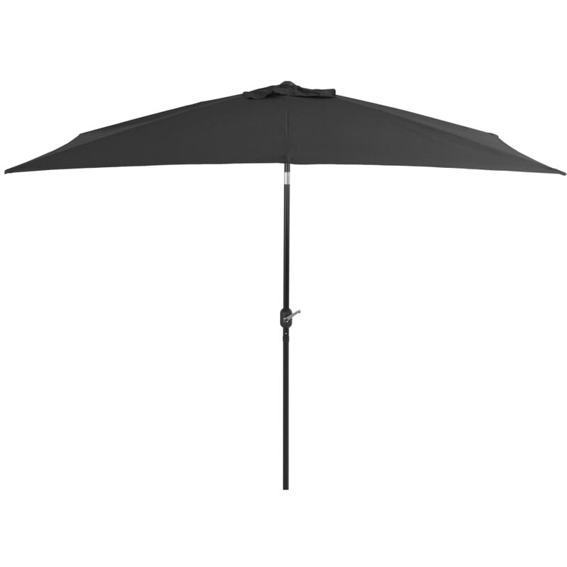 Parasol avec mât en métal 300 x 200 cm Anthracite